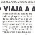 El tango viaja a Alemania (Crónica 1998)